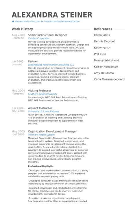 senior instructional designer resume sles visualcv