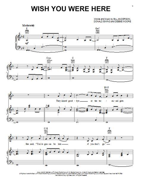 Tutorial Piano Wish You Were Here | wish you were here sheet music by bill anderson piano
