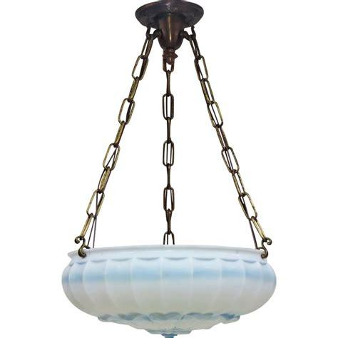 Bowl Pendant Light Fixtures Vintage Satin Glass Bowl Light Fixture Blue Accents 1920s Satin And Pendants