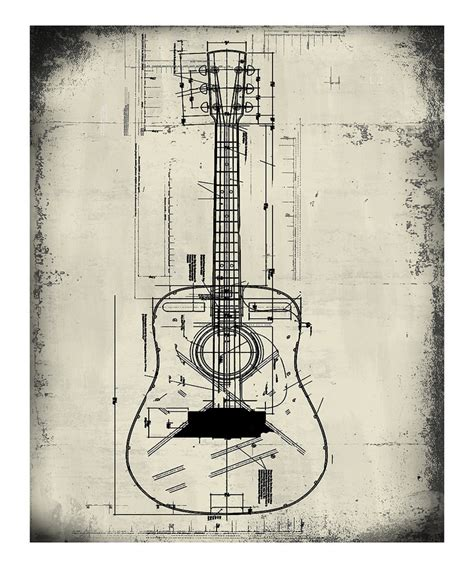 wall blueprints ptm images guitar blueprint wall art
