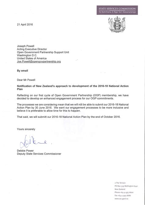 Letter Of Support For Partnership New Zealand Open Government Partnership