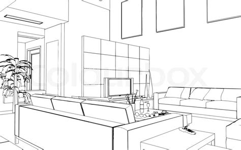 illustration of an outline sketch of a interior 3d
