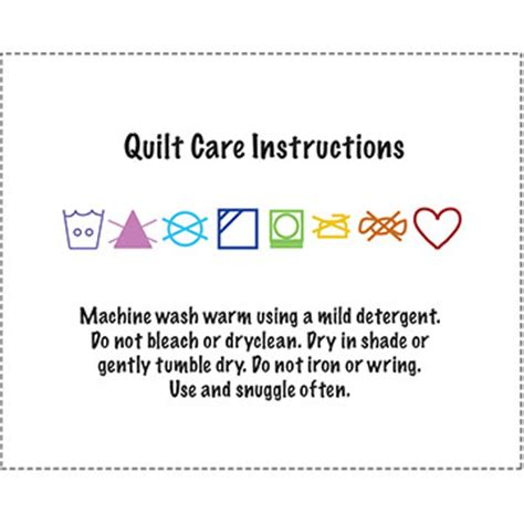 printable washing instructions set of 13 quilt wash instructions label with writing and