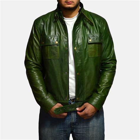 Mens Green Leather mens green coats fashion s coat 2017