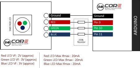 wiring 3 color rgb smd common cathode led 14core