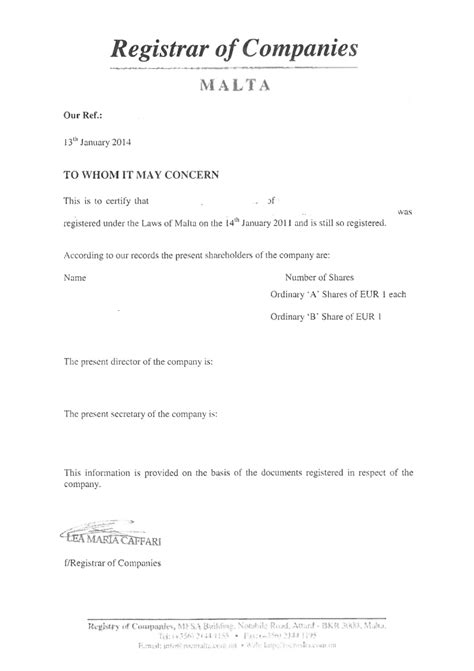 Request Letter For Standing Certificate Malta Offshore Zones Offshore And International Gsl