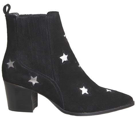 womens office astronomy western ankle boots black suede