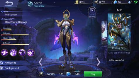 Skin Karrie Rising karrie dangerous attack speed build mobile legends