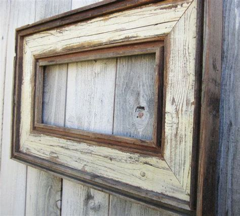 barnwood rustic home decor frame with initial rustic home free ship rustic antique ivory reclaimed wood frame empty