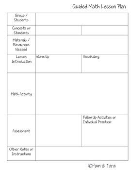 guided math lesson plan template by pam tara teachers