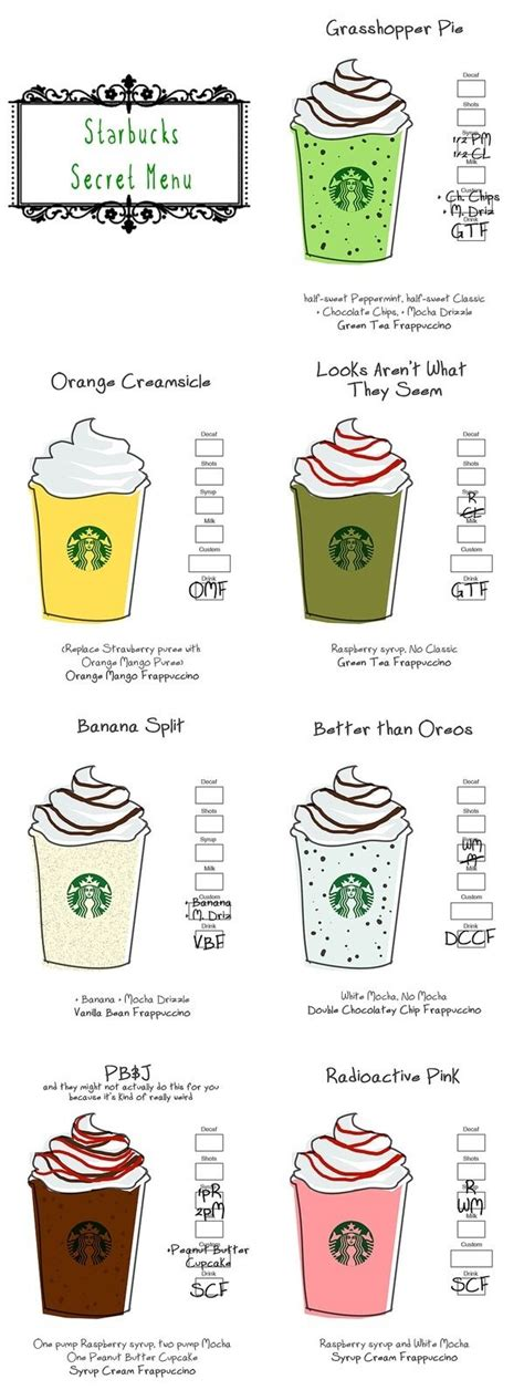 starbucks secret menu starbucks secret menu starbucks drinks