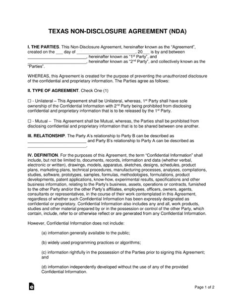 Texas Non Disclosure Agreement Nda Template Eforms Free Fillable Forms Non Disclosure Statement Template
