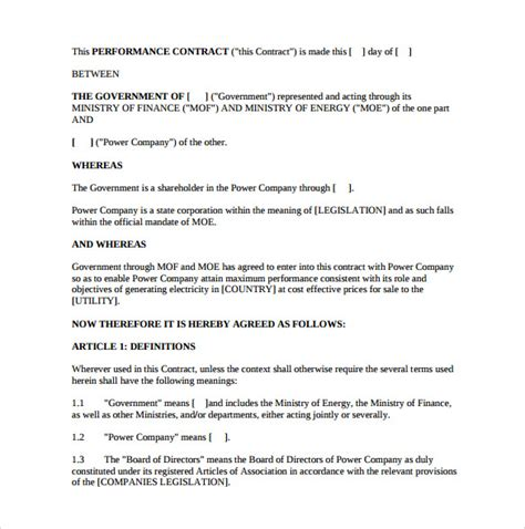 Performance Agreement Letter Sle Performance Contract Template 11 Free Documents In Pdf Word