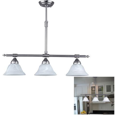 3 Light Kitchen Fixture Brushed Nickel Kitchen Island Pendant Light Fixture Dining 3 Globe Bar Lighting Ebay