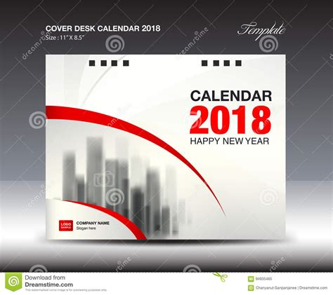 red cover desk calendar 2018 year booklet template stock