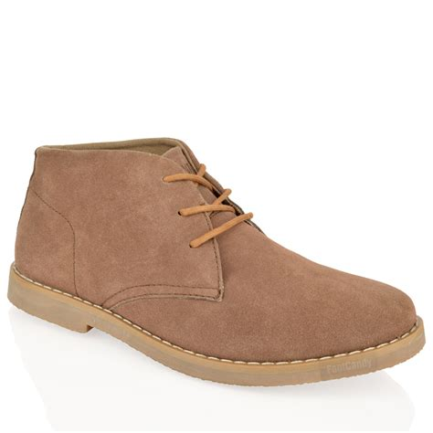 comfortable chukka boots mens boys ankle chukka desert suede leather lace comfort