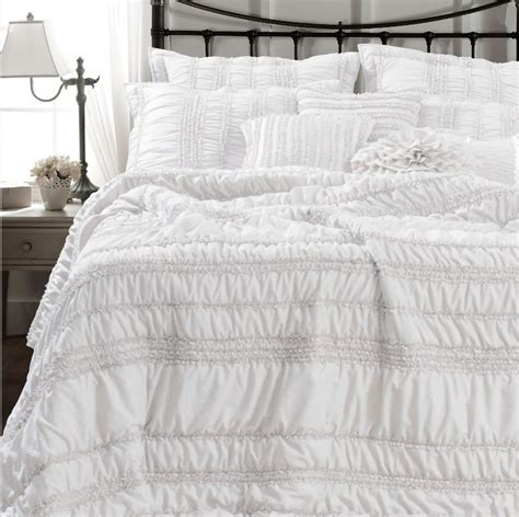 white ruched ruffled quilt set