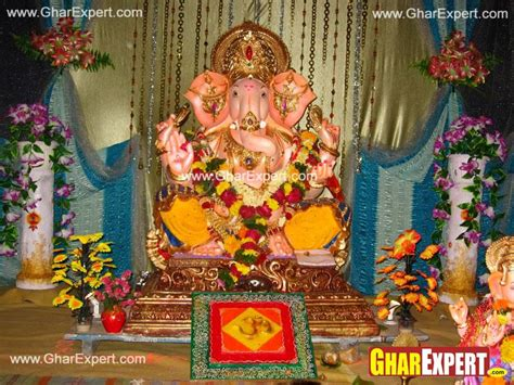 Ganpati Cloth Decoration ganpati decoration with coloured cloth and decoration