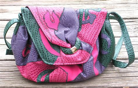 nas purple vintage nas bag purple pink green faux reptile leather