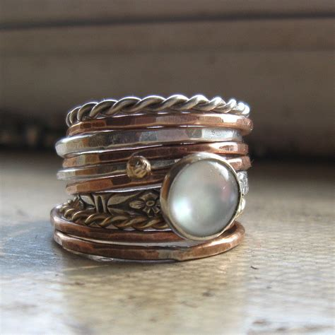 Handmade Stackable Rings - rustic handmade stacking rings sterling silver bronze by
