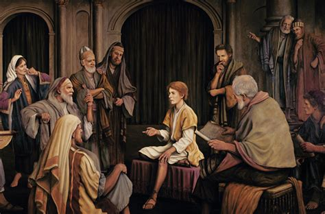 Young jesus sitting in the temple talking to the elders who are
