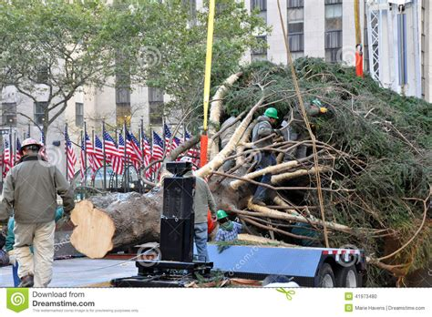 rockefeller center christmas tree arrival editorial image