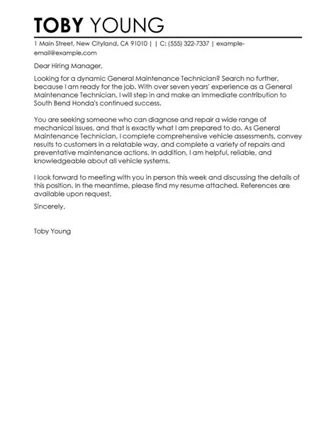 General Cover Letter by Clgeneral Maintenance Technician Automotive General Cover Letter No Specific By Toby