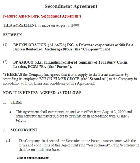 Business Cooperation Agreement Template secondment agreement sample secondment agreement template