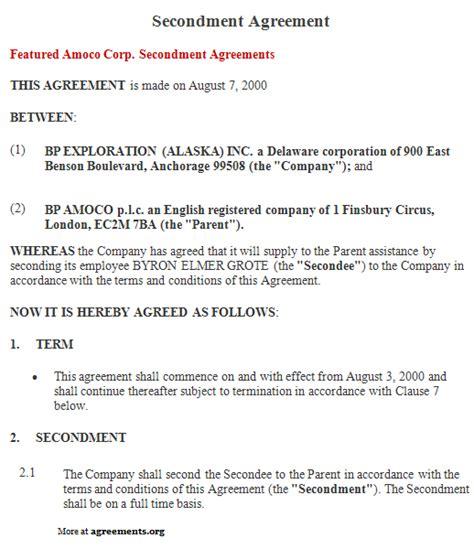 secondment agreement template secondment agreement sle secondment agreement template