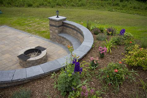 Landscaping Around Pit outdoor pit patio and sitting wall