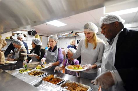 what to serve at a dinner officials serve meal at stamford homeless shelter