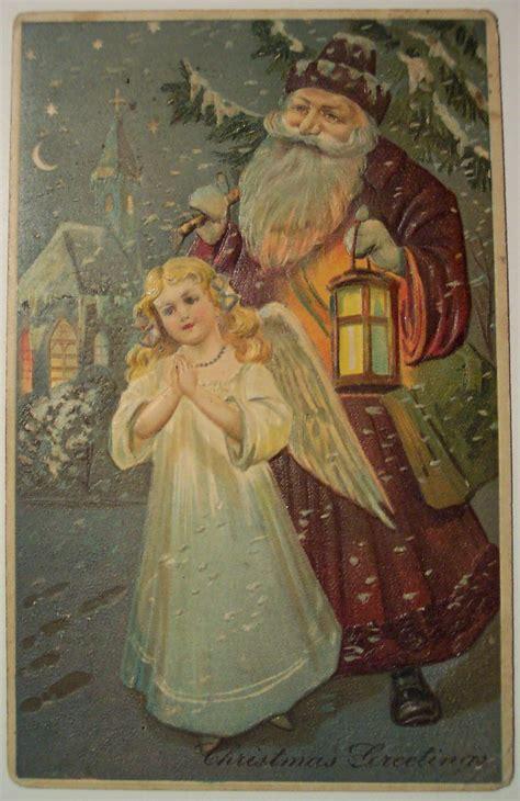 vintage christmas postcard santa  angel dave flickr