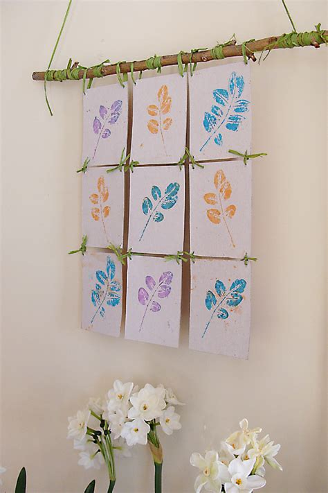 hanging craft projects make a leaf print wall hanging 187 dollar store crafts