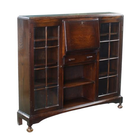 deco oak writing table desk bureau bookcase x