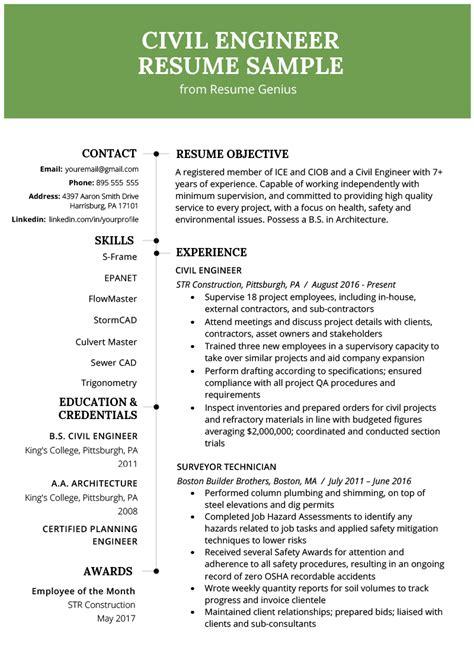 civil engineering resume  writing guide resume genius