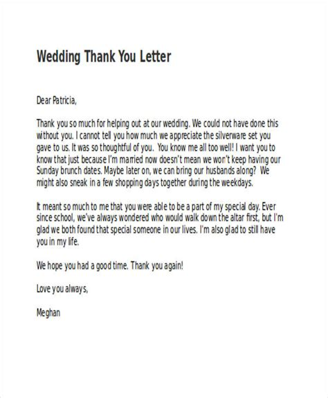 thank you letter after wedding sle thank you letter to for wedding 28 images wedding