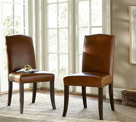 Pottery Barn Dining Chairs Staten Leather Side Chair Pottery Barn