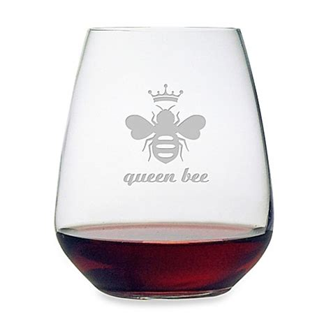 bed bath and beyond glasses susquehanna glass etched quot queen bee quot stemless wine glass