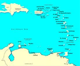 Caribbeans Map by Caribbean Southern Cruise Ports