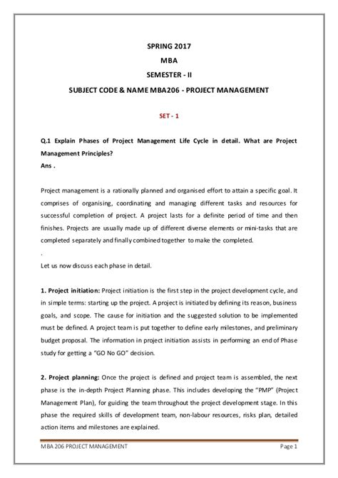 Mba Leadership Assignment Sle by 6 Mba 206 Project Management Assignment 2nd Semester