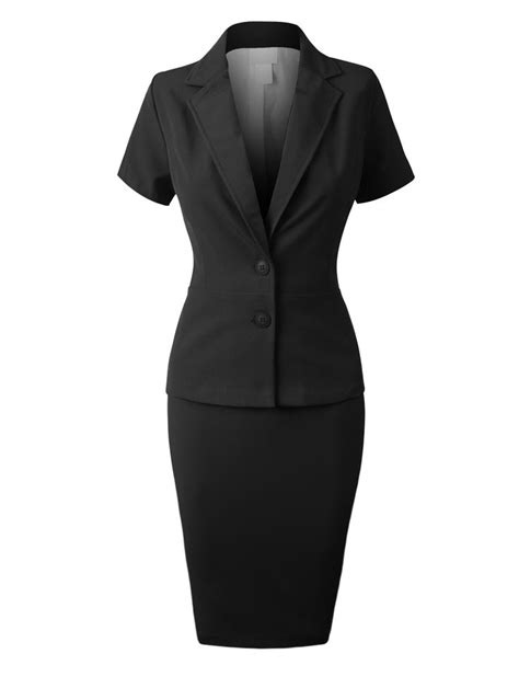 Set Blazer Dress Skirt womens fitted blazer and skirt suit set clearance