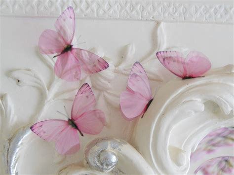4 shabby chic pink 3d flying butterfly accessories