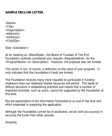 Decline Letter For Project Sle Rejection Letter 6 Exles In Word Pdf