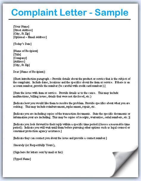 Complaint Letter To The Manager Of A Company Complaint Letter Sles Writing Professional Letters