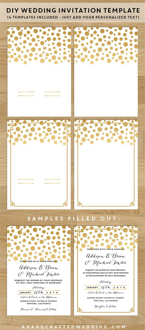 printable wedding invitations gold 7 best images of diy printable wedding invitation