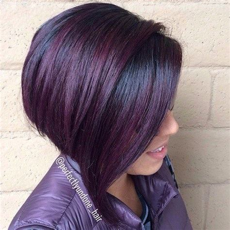 black stacked bob with purple balayage it s all the rage mahogany hair color rage colors and