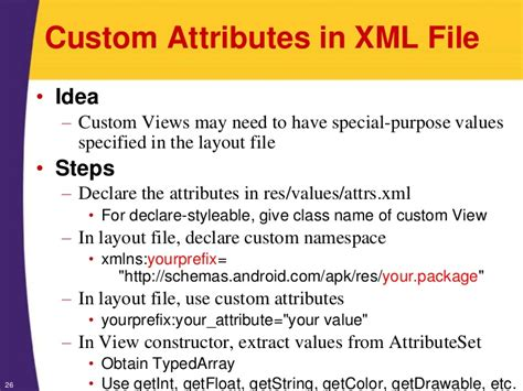 android layout xml custom attributes android tutorial developing custom components
