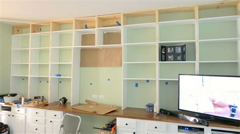 built in desk and bookshelves remodelaholic build a wall to wall built in desk and