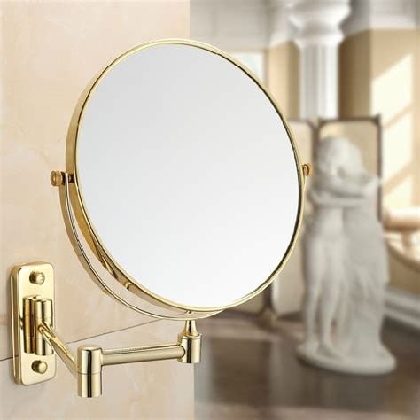 All Copper Beauty Mirror Folded 8 Inch Gold Plated Copper Bathroom Mirrors