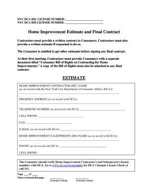 home improvement contract fill printable